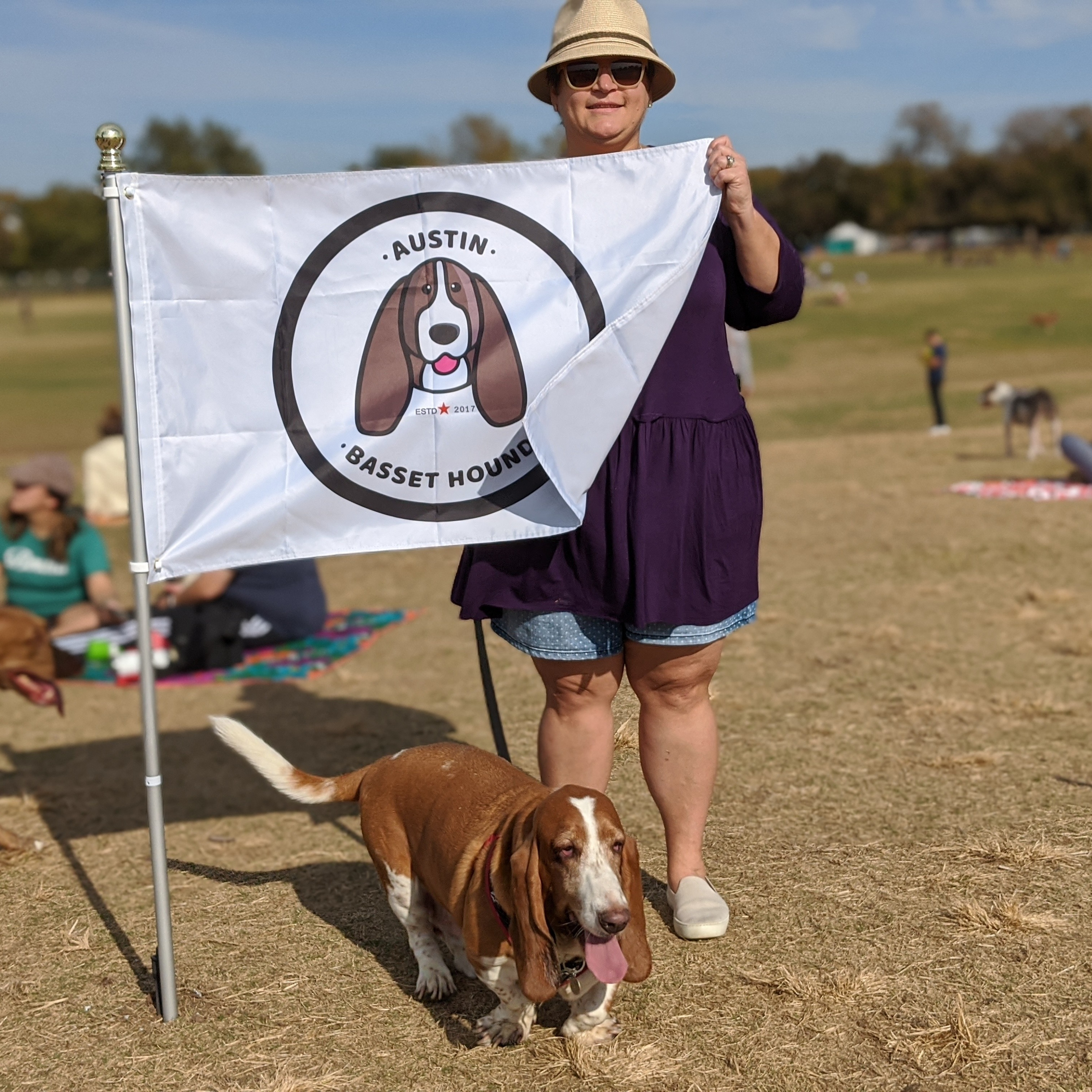 Tobi and Gus with a Basset Hound flag