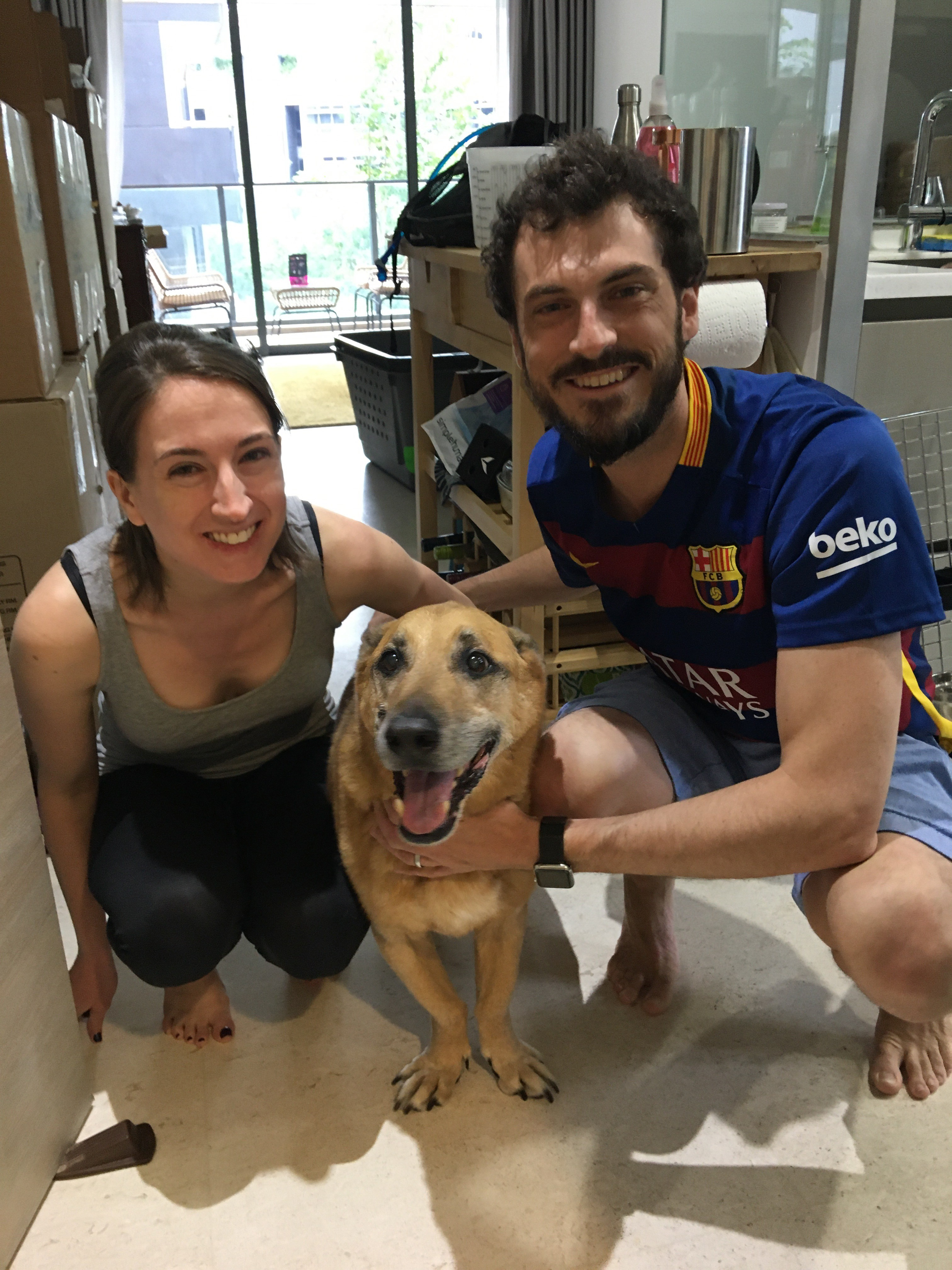 dog Marley and his family after they moved during coronavirus pandemic