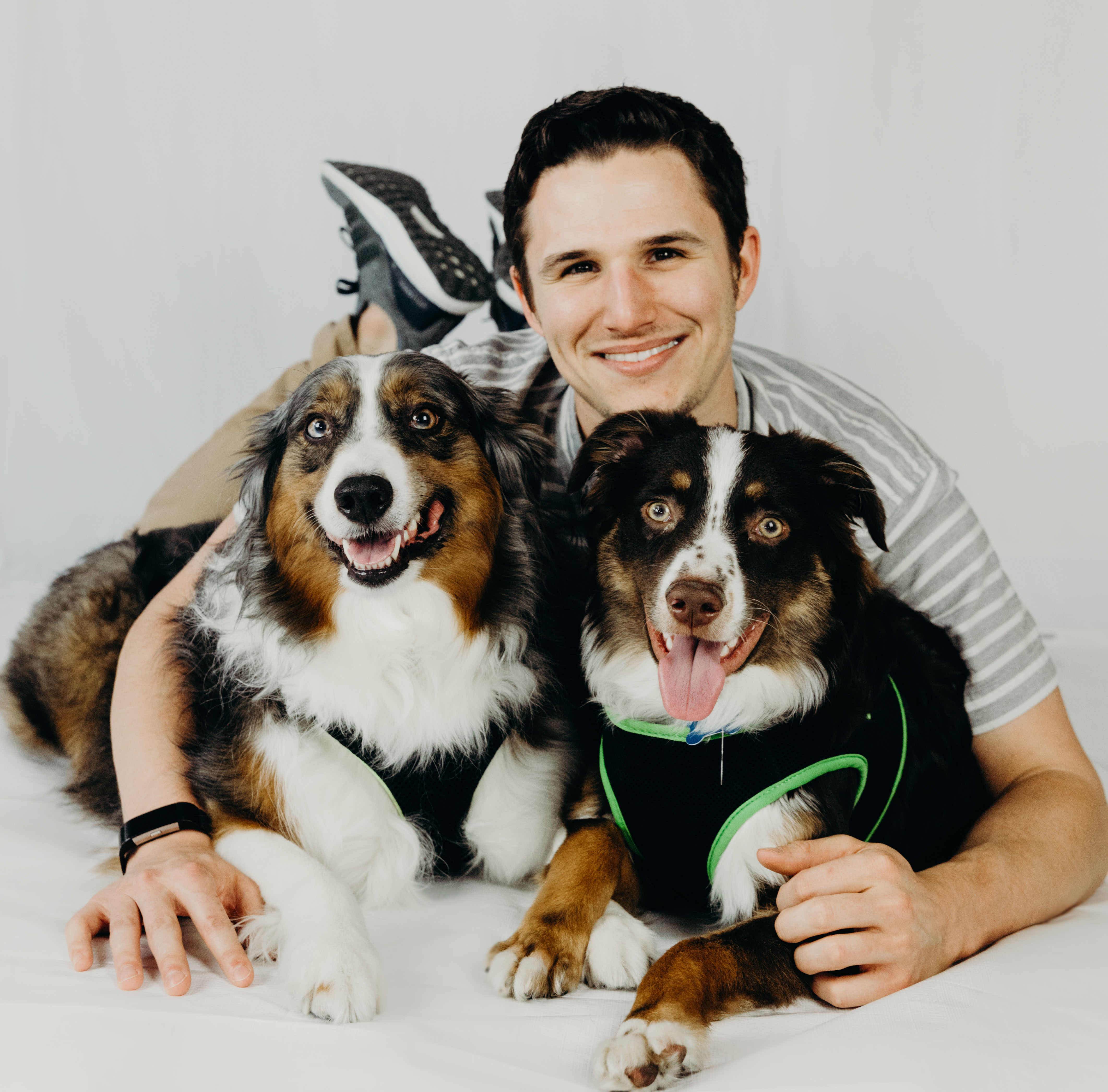Sales consultant Garrett with his dogs
